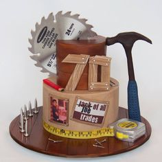 Amazing idea for a Father's Day or birthday cake. The candles were made to look like nails! (decorating cakes for men) Birthday Cakes For Men, Man Birthday, Birthday Cookies, Birthday Ideas, 75th Birthday, Dad Cake, Husband Cake, Fathers Day Cake, Tool Cake