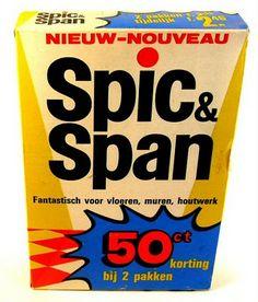 Spic & Span, 1960's packaging design. Benelux Belgium, Netherlands, Luxembourg) version for Proctor & Gamble.