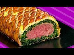 Filet Wellington - Rezept für Rinderfilet im Blätterteig Mantel mit Spinat und Bacon - YouTube