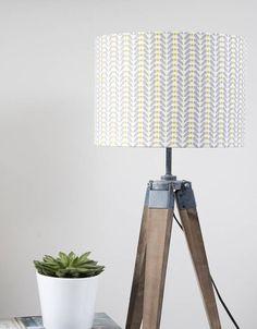 Mustard And Grey Scandi Design Linen Lampshade Standard LampsLamp
