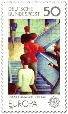 """Oskar Schlemmers berühmte """"Bauhaustreppe"""" auf Briefmarke von 1975"""