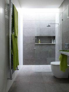 faire une douche l italienne idee salle de bain en gris et vert - Salle De Bain Douche Italienne Grise