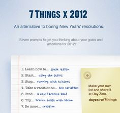 This year at Day Zero we're taking an alternative approach to the idea of New Years' resolutions by presenting you with seven prompts to get you thinking about what you want to achieve in 2012.