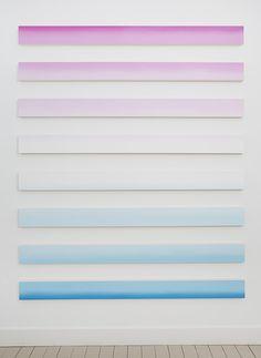 "Claudia Comte [Switzerland] (b 1983) ~ ""White Russian"", 2013. Acrylic on canvas (200 x 16 cm each). | #art #painting #abstractart #minimalart #hardedge"