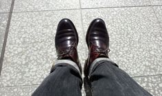 Shell Cordovan Boots with Black Denim