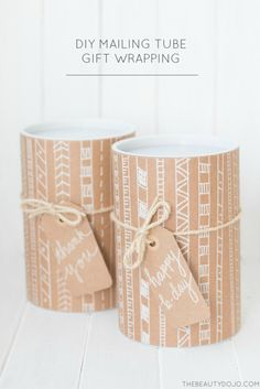 Have you guys every thought about using mailing tubes for gift wrapping? Today I'm sharing this DIY Mailing Tube Gift Wrapping project which is perfect for the upcoming holidays. Gift Wraping, Creative Gift Wrapping, Christmas Gift Wrapping, Gift Wrapping Paper, Wrapping Ideas, Creative Gifts, Mail Gifts, Fabric Gift Bags, Pretty Packaging