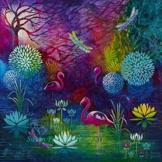 """Flamingo Magic"" by Susan Farrell. Art Prints available. susanfarrellart.com.au"