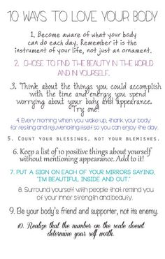 10 Ways to Love your Body --- yay!