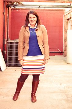 striped skirt, cobalt tee, brown jacket, brown boots, three-bubble necklace
