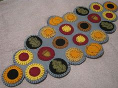 Primitive Fall/Autumn Wool Felt  Pumpkins, Leaves, Acorns  Penny Rug/Candle Mat  #NaivePrimitive #Seller
