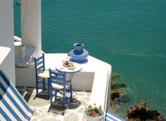 Greek Coffee in front of the Aegean Sea. Anafi island - Greeka.com | Greece | Greek islands