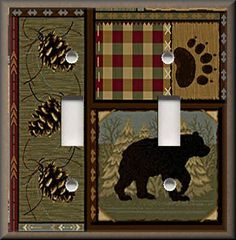 http://stores.ebay.com/Luna-Gallery-Switch-Plates Light Switch Plate Cover - Rustic Bear - Cabin Home Decor - Lodge