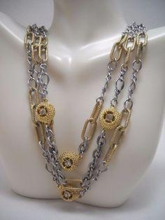#Designer #ANNTAYLORLOFT #AnnTaylor #Loft #Silver #Gold #Rhinestone #Diamond #Bib #Necklace EUC #JudithRipka #Jewelry #Jewellery #FreeShipping