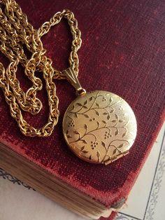 Vintage Textured Locket necklace Repousse by primitivepincushion