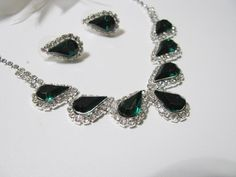 Deep Emerald Green 2 piece set Wedding Necklace Bridal Necklace - Bridal Jewelry - Wedding Necklace - bridal set- Backdrop Bridal Necklace by weddingswithflair on Etsy