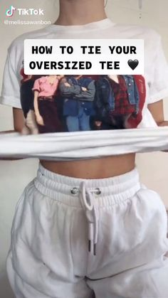 My style how to tie a t-shirt hack ideas Clothing hacks videos hack Style Tie Tshirt T Shirt Hacks, T Shirt Diy, Tie A Shirt Knot, Legging Outfits, Cute Comfy Outfits, Trendy Outfits, Tshirt Outfit Ideas Casual, Cute Outfits With Sweatpants, Summer Outfits