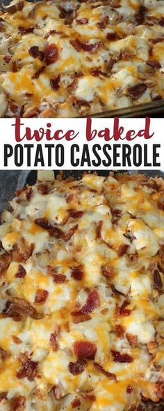 Potato Casserole an easy 4 step delicious dinner recipe that everyone will love! potatoes, bacon and cheesy goodness!Baked Potato Casserole an easy 4 step delicious dinner recipe that everyone will love! potatoes, bacon and cheesy goodness! Twice Baked Potatoes Casserole, Casserole Dishes, Cheesy Potatoes, Breakfast Casserole, Hashbrown Breakfast, Chicken Casserole, Cheap Casserole Recipes, Loaded Potato Casserole, Cowboy Casserole