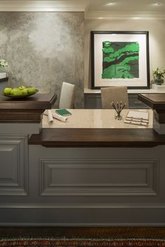 Custom receptionist desk, beautiful stained wood top and panrled front   MN Builder's Office   Martha O'Hara Interiors