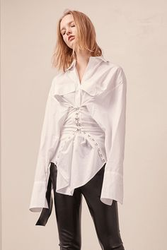 15 Different Ways To Wear The Deconstructed Shirt Trend #refinery29  http://www.refinery29.com/deconstructed-shirt-trend#slide-3  Loeil Keira Corset Shirt, $118, available at Loeil....