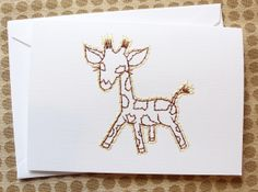 Sweet baby embroidered card by Stitched Cards.