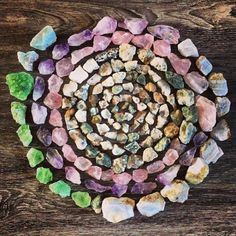 Powerful stone mandala inspired by the Earth Minerals And Gemstones, Crystals Minerals, Rocks And Minerals, Stones And Crystals, Crystal Magic, Crystal Grid, Crystal Healing, Crystal Mandala, Stone Mandala