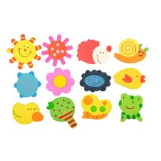 12pcs 1Set Kids Baby Wood Cartoon Pattern Fridge Magnet Educational Toy Gift