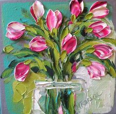 Magenta Pink Tulips Painting by Jan Ironside