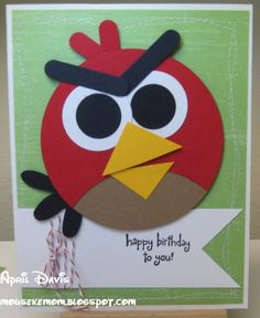 Angry Bird punch art card. This would make a great OWH miss you card.