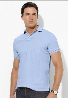 Ralph Lauren Men\u0027s Custom-Fit Stretch-Mesh Short Sleeve Polo Shirt Winter  Blue http