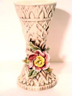 Beautiful Vintage Ceramic Rose Vase by AntiqueAlchemists on Etsy, $45.00