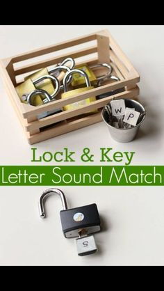 Letter Sounds Activity with Locks Love this. work on fine motor, and you know you are successful when the lock opens. Fun letter sounds activity for kids learning to read. Letter Sound Activities, Learning Letters, Alphabet Activities, Language Activities, Literacy Activities, Activities For Kids, Literacy Centers, Kindergarten Literacy, Early Literacy