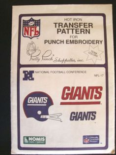 1 Vintage 1987 NFL New York Giants  Hot Iron Transfer Pattern  For Punch Embroidery. $7.99