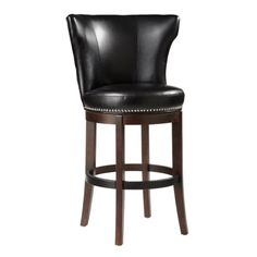 Entertain like royalty with this over-sized swivel counter stool. Stocked in black and oxblood bonded leather with silver nail head and espresso legs. A black metal plate protects the footrest from wear and tear.