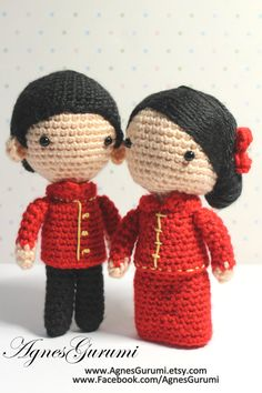 Amigurumi Crochet Wedding Couple Chinese by AgnesGurumi on Etsy