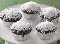 karen martini ~ double happiness lamington muffins We make these cakes all the time minus the choccie tops etc ~ we serve them as coconut cakes with homemade caramel sauce ~ they are heavenly Dessert Cake Recipes, Dessert Drinks, Desserts, Australia Day Celebrations, Homemade Caramel Sauce, Baking Muffins, Cupcake Heaven, Special Recipes, Cupcake Cakes