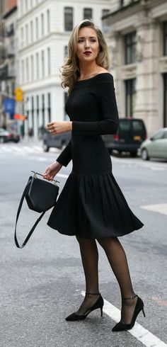 Black off the shoulder pleated knit sparkle dress, black suede ankle-strap pumps, black structured mini bag, sheer black tights and a dark red lip {Rebecca Vallance, M2Malletier, Sam Edelman, what to wear to an engagement party, winter style, classic style, fashion blogger}