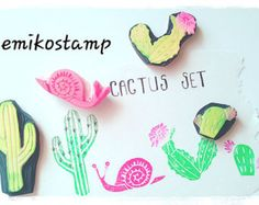 cactus rubber stamp set. hand carved rubber stamps. cactus pot stamps. mexican garden stamp. style no1. set of 5 mini cactus parts. great for mexican theme craft projects! each rubber stamp is hand drawn and hand carved by talktothesun.  SIZE: about 3.5cmX1cm (1.4inX0.4in) - planter pot  IDEAS FOR CRAFT PROJECTS: diy birthdays, mexican themed party // make invitation cards, thank you cards, gift wrapping paper or paper bags // stamp on snail mails, postcards, parcels // for teachers and…