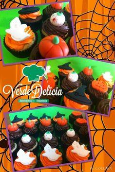 Cupcakes halloween chocolate rellenos con ganache de chocolate y buttercream de vainilla y otros de chocolate, decorados con figuras de azucar...