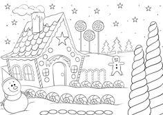 Ausmalbild Weihnachten Lebkuchenhaus