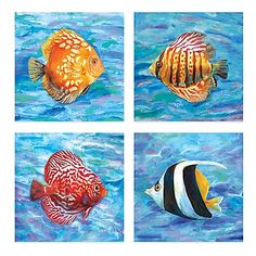 Unique and modern, the Tropical Colors Embellished Canvas Wall Art Set adds a festive undersea flare to your room's décor. These canvases feature 4 vibrantly-colored tropical fish in a colorful sea habitat for a bold and decorative look for you home.