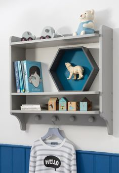 A chic double shelf unit for your child's bedroom, the Hege combines style with function. Featuring plenty of space to display your little one's most cherished items! Childrens Bedroom Furniture, Kids Bedroom, Bedroom Ideas, Coat Hooks, Blue Design, Bedroom Storage, Bunk Beds, Storage Spaces, Floating Shelves