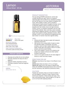 Lemon doTerra Essential Oils product information