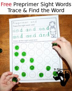 Free Preprimer Sight Word Trace & Find the Word - all 40 words in the Dolch Preprimer - 3Dinosaurs.com
