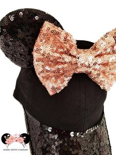 8f8506b1f60 Minnie Black and Rose Gold Sequin Ears Classic Fit Women s Baseball Hat Cap  Day of the Dead
