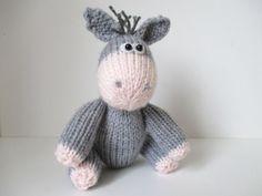 Bobbin the Donkey toy knitting patterns by fluffandfuzz on Etsy