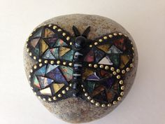 Mosaic Heart Rock Paperweight Blue Mirror Glass by PalsCreations