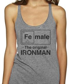 Female - The Original Ironman on an Athletic Grey Racerback
