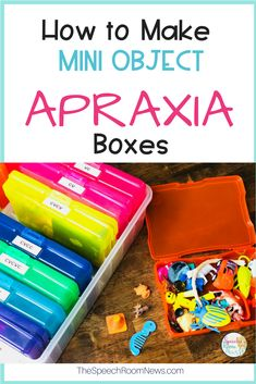 Using mini objects instead is a super fun way to make repetitive therapy more engaging. Let me show you how I set up my boxes. I created them for Apraxia therapy using CV and VC variants!