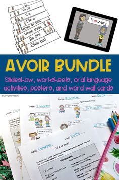 "Avoir conjugation is such an important skill! This avoir bundle will give you everything you need to get your Core French or late French immersion students familiar with the verb ""to have"" en français. Conjugasion avoir, conjugasion français!"
