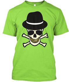 Halloween Skull Hipster T Shirt Lime T-Shirt Front